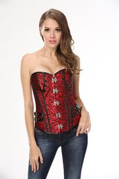 Wholesale Xxl Sexy Corsets - New Sexy Style Overbust Red Bright Lace Up Back Corset Top A1501 Size S,M,L,XL,XXL