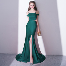 Due pezzi vestito da promenade fishtail online-Fashion New Evening Dress Sexy Slim Fishtail Green Sweep Train Due pezzi semplice Satin Mermaid alta Split Prom abiti del partito