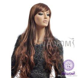 Wholesale Sexy Blond Wig - sexy long blond women wig dark browm women wigs revlon wig Synthetic fiber of 100% Kanekalon 1pc Lot Free Shipping 0729NAD3251