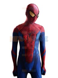 Wholesale men cosplay costume - 2015 The Amazing Spider-man Costume 3D Original Movie Halloween Cosplay Spandex Spiderman Costume Adult zentai suit Hot Sale free shipping