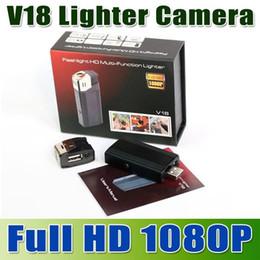 2019 briquets de cartes 1080P Caméra Briquet Full HD Briquet DVR avec Support Lampe de poche TF Carte U Disque mini caméra enregistreur vidéo V18 Surveillance de sécurité briquets de cartes pas cher