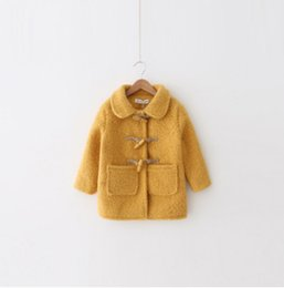 Wholesale Yellow Horns Wholesale - Children woolen trench coat girls horn single breasted princess outwear autumn winter kids lapel double pocket windbreaker pink yellow R1194