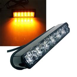 Wholesale Led Flashing Beacon Lights - 6 LED Light Bar Beacon Vehicle Grill Strobe Light Emergency Warning Flash Amber free shipping