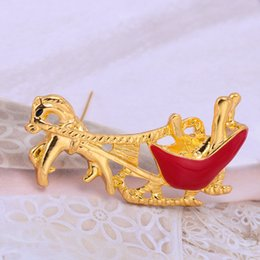 Wholesale Christmas Broches - New Woman Girl's Christmas Santa Ride Broches 18K Gold plated Crystal Fashion Clip Brooch Scarf Cravat Pins Brooches For Women