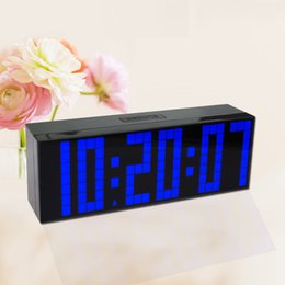 Wholesale Electronic Calendar Alarm - Brief Big Font Wall Clock Calendar Temperature Digital Clock Indoor Electronic Alarm Clock 12 24 Hour Model Backlight Clock