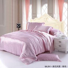 Wholesale Natural Silk Comforter Bedding Set - Wholesale-Pink print natural mulberry silk satin comforter bedding set king size queen comforters quilt duvet cover bed sheet bedspread