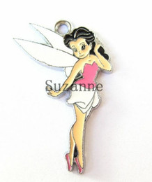 Wholesale Metal Tinkerbell Charms - New hot wholesale lots 50 Pcs Pink Tinkerbell Charm Pendants DIY Jewelry Making Free Shipping
