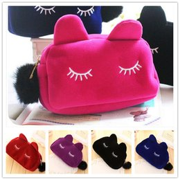 Wholesale ladies flannel - Lady Women Cosmetic Bags Makeup Purses Case Flannel Polyester Size 19*5*12cm Cartoon Cat Portable Travel DHL free shipping