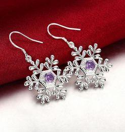 orecchini di fiocco di diamanti Sconti Trendy Noble Amethyst Snowflake Charm Charm Ciondola gli orecchini per le donne placcato in argento sterling 925 orecchini placcati zircone diamante regalo di natale