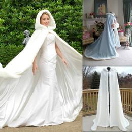 Wholesale Coat Winter For Bride - Warm Bridal Cape Wraps Custom Made Winter Wedding Cloak Cape Hooded with Fur Trim Long Bridal Wraps Winter Jacket Coat for Bride