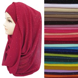 Wholesale Shimmer Headbands - Wholesale- Gold Glitters Shimmer Bubble Chiffon Muslim Hijab Scarf Shawl Head Wrap Plain Colours