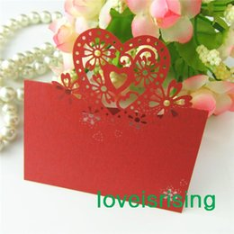 Wholesale Cutting Lasers For Sale - New Arrivals-Hot Sale-50pcs Red Color Laser Cut Place Cards Wedding Name Cards For Wedding Party Table Decoration--Factory Directly Sell