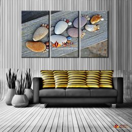Wholesale 3 canvas wall art stone footprint decoration pieces for living room canvas paintings cheap modern wall decor print on canvas