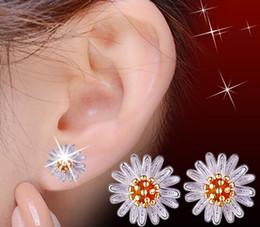 Wholesale Little Korean Jewelry - Korean fashion Cute little Daisy Earrings sunflower 925 Sterling Silver Jewelry Pendant Silver Earrings