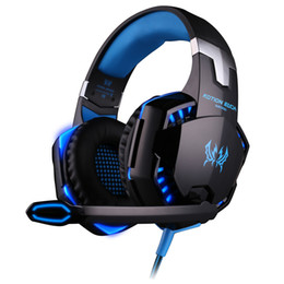 Wholesale Studios Wired - Gaming Headphones Stereo Noise Cancelling Headsets Studio Headband Microphone Earphones With Light For Computer PC Gamer EACH G2000