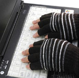 Wholesale Laptop Hand Warmer - Wholesale-New USB Novelty Laptop USB Heating Winter Warm Hot Hands Gloves 5V 3 Colors