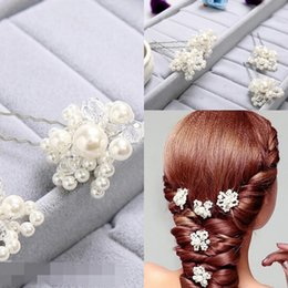 Wholesale Wholesale Cheap Rhinestone Jewelry - Headbands Fashion Jewelry 5 PCS Wedding Tiaras & Hair Accessories Swarovski Crystal Pearl Hair Pins Cheap Head Piece tiaras hair accessories