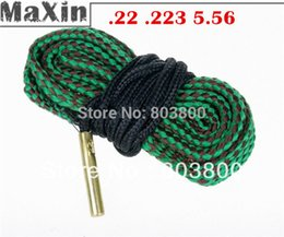 Wholesale Snake Gun 22 Shotgun - Bore Snake Gun Cleaning .22 .223 5.56 Brass Weighted Cord Fit 4 Rifle Pistol clean boresnake free shipping for 22 cal Shotguns