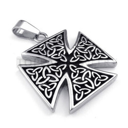 Wholesale Maltese Crosses - Free Shipping! 3pcs LOT Celtic Maltese Iron Cross 316 Stainless Steel Pendant MEP312
