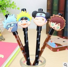 Wholesale Naruto Pens - Beauty 24pcs lot Black Refill Naruto Gel Ink Pen Mix Styles Cartoons Pens Stationery Office School Supplies #GP027