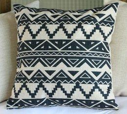 Wholesale Aztec Pillows - Linen Pillow Cushion Cover Throw decorative cushion covers 45cm*45cm Retro Black aztec Tribes