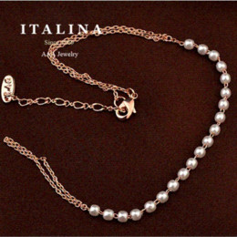 Wholesale Name Plates - Elegant Cute Imitation Pearl Bead Bracelet for Women Champagne Gold Plated ITALINA Jewelry bracelet name bead and charm bracelets