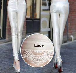 2019 calças de cetim Atacado-verão Shinning tecido de qualidade Lápis calças para as mulheres, Perlized branco Champagne Shinning cetim Leggings senhoras calças de cetim barato