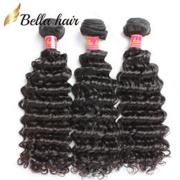Bella Hair® 8A Derin Dalga Saç Örgüleri Brezilyalı Bakire Saç Doğal Renk Kamboçyalı Malezya Hint Perulu İnsan Saç Atkı cheap malaysian human hair weft nereden malezya insan saç atkısı tedarikçiler