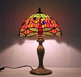 Wholesale Painted Lampshades - FUMAT Stained Glass Table lamps Round Colored Table lamp Bedside Dragonfly Lampshade For Living Room Bed Room Table Lights