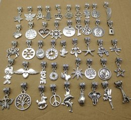 Wholesale Flats Music - 100pcs mix varity antique silver beads metal charms fit Pandora bracelet European necklace