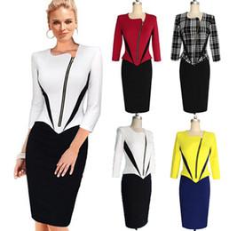 Wholesale Elegant Slim Office Dress - 2015 Summer Style Office OL Wear to Work Vestidos Women Elegant Front Zip Patchwork Tunic Slim Casual Bodycon Dress Sexy Party Dress OXLT708