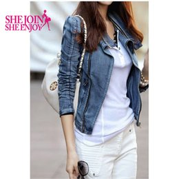 Wholesale Women S Short Coats - Women Slim Vintage Short Denim Jackets S-XL Plus Size Casual Long Sleeve Turn-Down Collar Zipper Cardigan Lady Denim Coat C620Y5