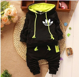 Wholesale Sport Style Girl Suit - New Arrival Baby Suits 2017 Autumn Sports Girls Boys Brand Suits Kids Cotton Hooded Sweater+Pants Suits Newborn babies Clothing