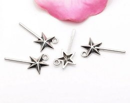 wholesale fairy charms Promo Codes - Hot sell ! 100pcs Antique silver Fairy Star Wand Charm DIY Jewelry 26x13mm