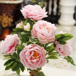 Wholesale Large Artificial Peony - Free shipping 7big peony flower heads 1bouquet Super large artificial silk peony flowers simulation flower 5 color
