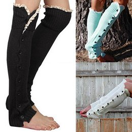 Wholesale Long White Boots For Women - Hot Lace Trim Flat Cuffs Button Down Knee High Boot Socks Winter Boot Socks Long Warm Socks Knit Leg Warmer for Christmas