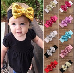 Wholesale Toddler Elastic Hair Bands - Baby Kids Girl Sequin Bow Hair Band Toddler Infant Turban Headband Headwrap Cute Bow Headband Elastic Accessories KKA3184