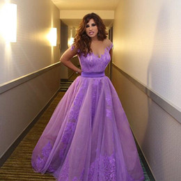 Wholesale Dress Najwa Karam - Vintage Lebanese Najwa Karam Celebrity Prom Dress Saudi Arabia Dubai Ball Gown Lilac Sheer Neck Lace Lebanon Long Evening Party Gowns
