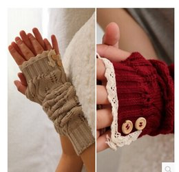 Wholesale Knitted Long Gloves - 2017 Solid Lace knitted Fingerless Gloves Ballet Dance button glove burn out long Arm Warmers mitten Fashion 8 colors #3706