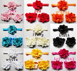 Wholesale Pink Flowers Baby Shoes - 10% off 2015 new arrival!baby Flouncing flower fashion brand first walker shoes,10pcs hairband+10pcs shoes, Barefoot sandals 20pcs lot