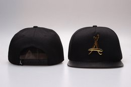 Wholesale Tha Alumni Men - 2014 New THA Alumni Gold Logo Leather Snapback Caps Black Red Brand Hip Hop Men's Adjustable sports hats 7 Styles Free Shipping