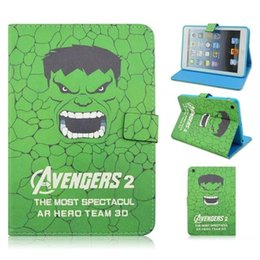 Wholesale Ipad Ii Skins - TPU Leather Wallet Cartoon Avengers 2 II film star Case Pouch For Ipad Mini 1 2 3 tablet Purse Stand Cover skin