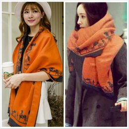 Wholesale cashmere large scarf - Fashion Designer Scarves for Women Wool Pashmina Shawl Large Thickened Warm Wool Shawl Cardigans Scarf Tassel Stole Poncho I315