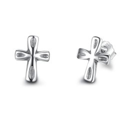 Wholesale Sterling Silver Hoop Earrings Women - 925 Sterling Silver Stud Earrings Classic Cross Shape Earrings Fashion Hollow Out Hoop Earrings For Women