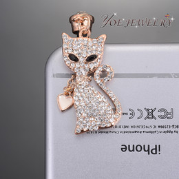 Wholesale Rose Anti Dust Plug - Wholesale-Wholesale Fashion Phone Jewelry Crystal Fox Dust Proof Plug Hight Quality Rose Gold Plated 3.5mm Anti Dust Plug For Cellphones
