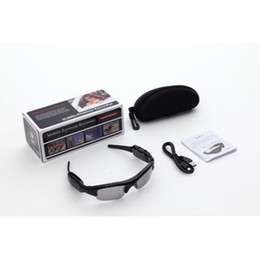 Wholesale Hot Audio Box - Hot Selling Spy Sunglasses Hidden Camera Black Sun Glasses DVR Audio Video Recorder Mini DV Eyewear Camera support TF Card with Retail Box