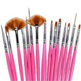 Wholesale Cheap Elegant Pens - New Cheap Nail Tools Portable 15Pcs Nail Art Painting Drawing Pens Elegant Nail Dotting Pen