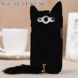 Wholesale Korean S4 - Wholesale-Korean 3D Cute Plush S3 S4 S5 S6 Cat Ear Tail Case Cover For Samsung Galaxy S3 i9300 S4 S5 S6 Black White Pink Rose Colors Case