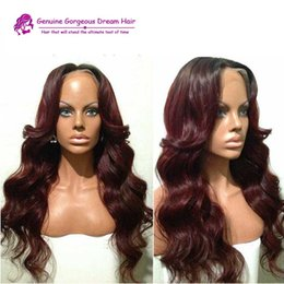 Wholesale Dark Wine Brown Hair - Silk Base Ombre 99j Brazilian Vrigin Human Hair Natural Black 1B to 99j wine red Glueless Full Lace Wigs Lace Front Wigs