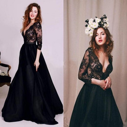 Wholesale Taffeta Puffy Wedding Dress - Sexy Illusion Black Lace Prom Dresses With Deep v Neck Long Sleeves A Line Puffy Long Wedding Party Gowns Formal Evening Gowns